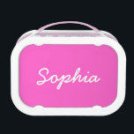 """Personalized lunch box for girls   Pink<br><div class=""""desc"""">Personalized lunch box for girls   Pink. Cute girly gift idea for school.  Customizable background color with handwritten text. Make your own with your kids name.</div>"""