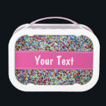 """Personalized lunch box for girls   sprinkles print<br><div class=""""desc"""">Personalized lunch box for girls   cake sprinkles print. Cool school gift idea for little kids. Customizable name of your child. Make your own with the name of your children. Personalizable design.</div>"""