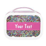 Personalized lunch box for girls   sprinkles print<br><div class='desc'>Personalized lunch box for girls   cake sprinkles print. Cool school gift idea for little kids. Customizable name of your child. Make your own with the name of your children. Personalizable design.</div>