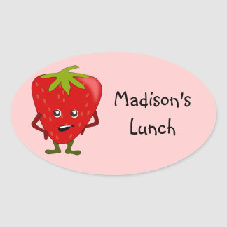 Personalized Lunch Labels: Strawberry Oval Sticker