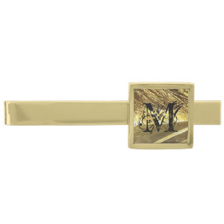 Personalized luxery monogram gold plated tie clip