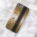 Personalized Luxury Gold and Black Music Notes iPhone 6 Case