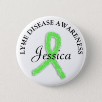 Personalized Lyme Disease Ribbon Name tag Button
