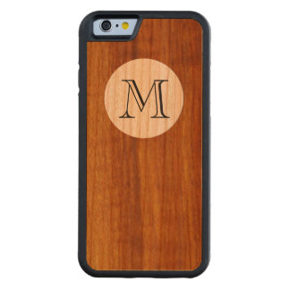 personalized M initial letter on wood Carved® Cherry iPhone 6 Bumper Case