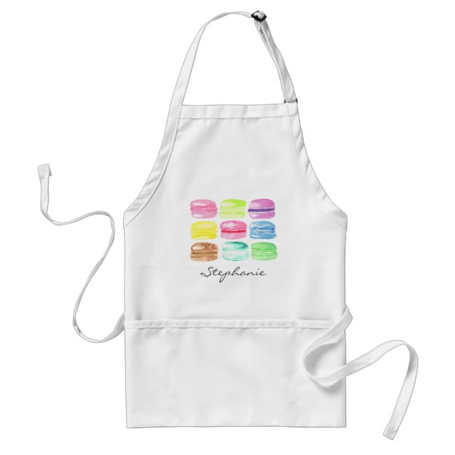 Personalized Macaroon Watercolor Cute Adult Apron