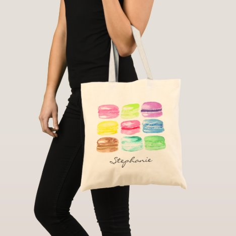 Personalized Macaroon Watercolor Girly Tote Bag