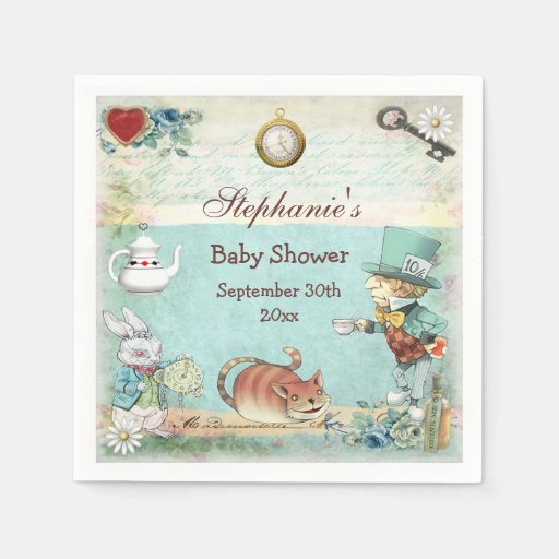 Personalized Mad Hatter Baby Shower Disposable Napkins