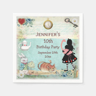 Personalized Mad Hatter Birthday Party Paper Napkin