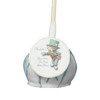 Personalized Mad Hatter Tea Party Boy Baby Shower Cake Pops