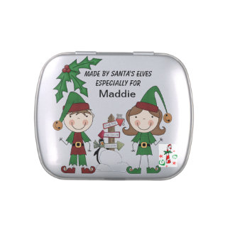 Personalized Made By Elves Tins and Jars w. Candy Candy Tins