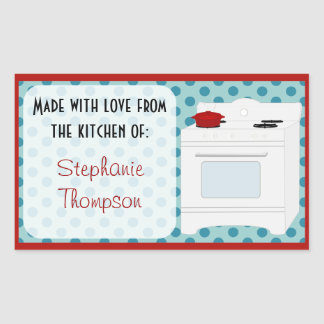 Personalized Made From The Kitchen Of Retro Stove Rectangular Sticker