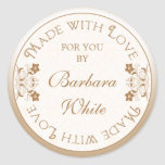 Personalized Made with Love Labels Tags Gold Flora Classic Round Sticker