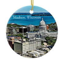 Personalized Madison, Wisconsin Cheese Head Ceramic Ornament