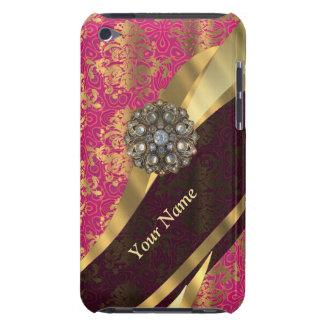 Personalized magenta damask pattern iPod Case-Mate case
