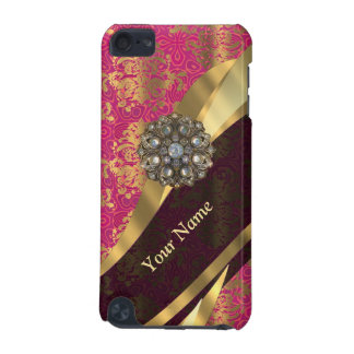 Personalized magenta damask pattern iPod touch 5G cover