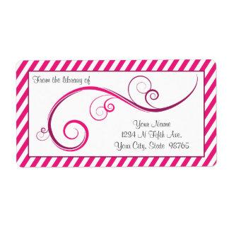 Personalized Magenta Swirl Bookplate Shipping Label