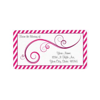 Personalized Magenta Swirl Bookplate Address Label
