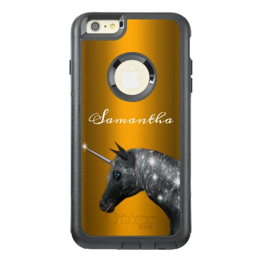 Personalized Magical Black Unicorn on Gold OtterBox iPhone 6/6s Plus Case