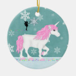 Personalized Magical Pink, White Unicorn and Fairy Ceramic Ornament