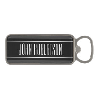 Personalized magnetic bottle opener with stripes