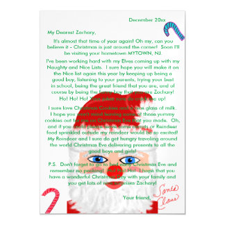 Personalized Magnetic Name Santa Letter Candy Cane Magnetic Card