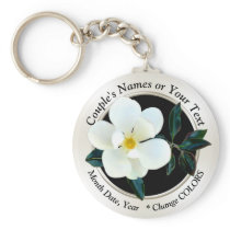 Personalized Magnolia Favors for Any Occasion Keychain