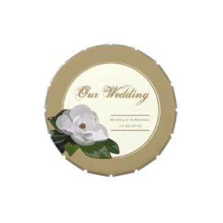 Personalized Magnolia Flower Wedding Favor Gold Candy Tin