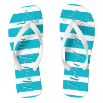 Personalized Maid of Honor Aqua or Any Color Flip Flops