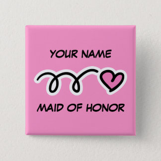 Personalized Maid Of Honor Button With Cute Heart
