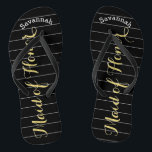 "Personalized Maid of Honor Golden Yellow Flip Flops<br><div class=""desc"">Golden Yellow White and Black Stripes Pattern - Change to Any Color by clicking customize. And say anything you want. Make these one of a kind flip flops that have YOUR message on them. Be the talk of the beach! Personalized with your name or whatever and title or your text...</div>"