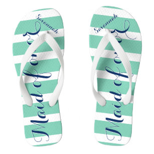 fb72058eec00d Personalized Maid of Honor Navy and Mint Flip Flops
