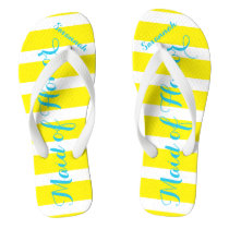 Personalized Maid of Honor Turquoise and Yellow Flip Flops