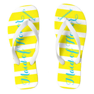 08f924174066c Personalized Maid of Honor Turquoise and Yellow Flip Flops