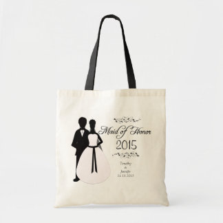 Personalized maid of honor wedding favor tote bag