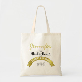 Personalized Maid of Honor Wedding | Gold Glamour Tote Bag