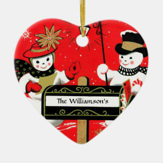 Personalized Mailbox Snowman Couple Ceramic Ornament