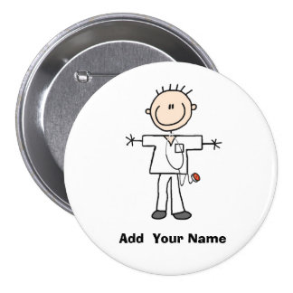 Personalized Male Stick Figure Nurse  Button
