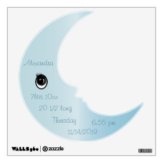 Personalized Man In the Moon Baby Blue Wall Decal