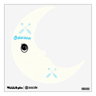 Personalized Man In the Moon Blue Arrow Wall Decal