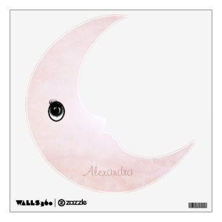 Personalized Man In the Moon Misty Pink Wall Decal