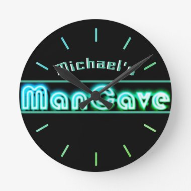 Personalized Mancave Bar Den Men Only Neon Clock