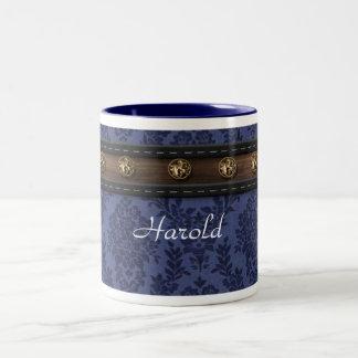 Personalized man's blue damask mug