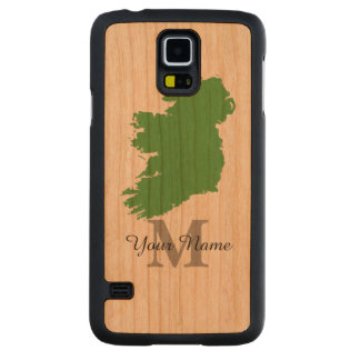 Personalized map of Ireland monogrammed Carved Cherry Galaxy S5 Slim Case