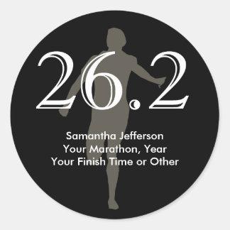 Personalized Marathon Runner 26.2 Keepsake Black Classic Round Sticker