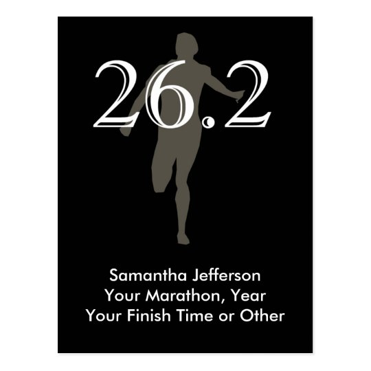 Personalized Marathon Runner 26.2 Keepsake Black Postcard