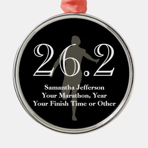 Personalized Marathon Runner 26.2 Keepsake Medal Ornaments