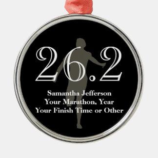 Personalized Marathon Runner 26.2 Keepsake Medal Round Metal Christmas Ornament