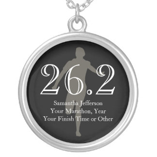 Personalized Marathon Runner 26.2 Keepsake Medal Silver Plated Necklace