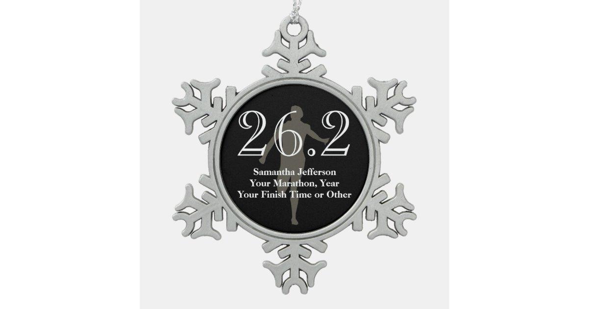 Personalized Marathon Runner 26 2 Keepsake Medal Snowflake