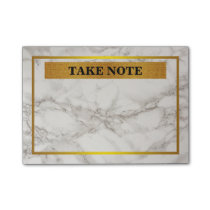 Personalized Marble Take Note with gold border